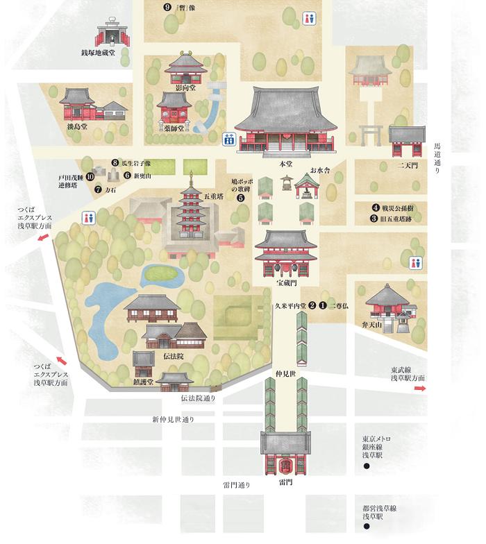 浅草寺公式サイトにある地図